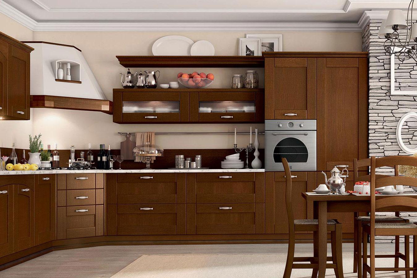 La Cucina Componibile Classica : Arredo cucina agnese classica componibile legno vetro