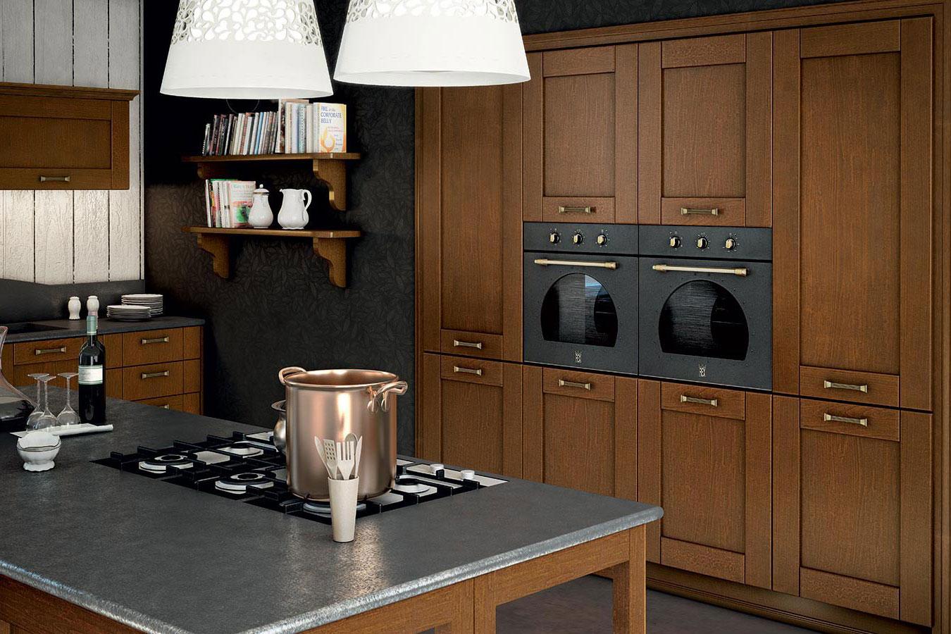 Arredo3 cucina agnese 4 classica componibile legno vetro for Mobili arredo cucina