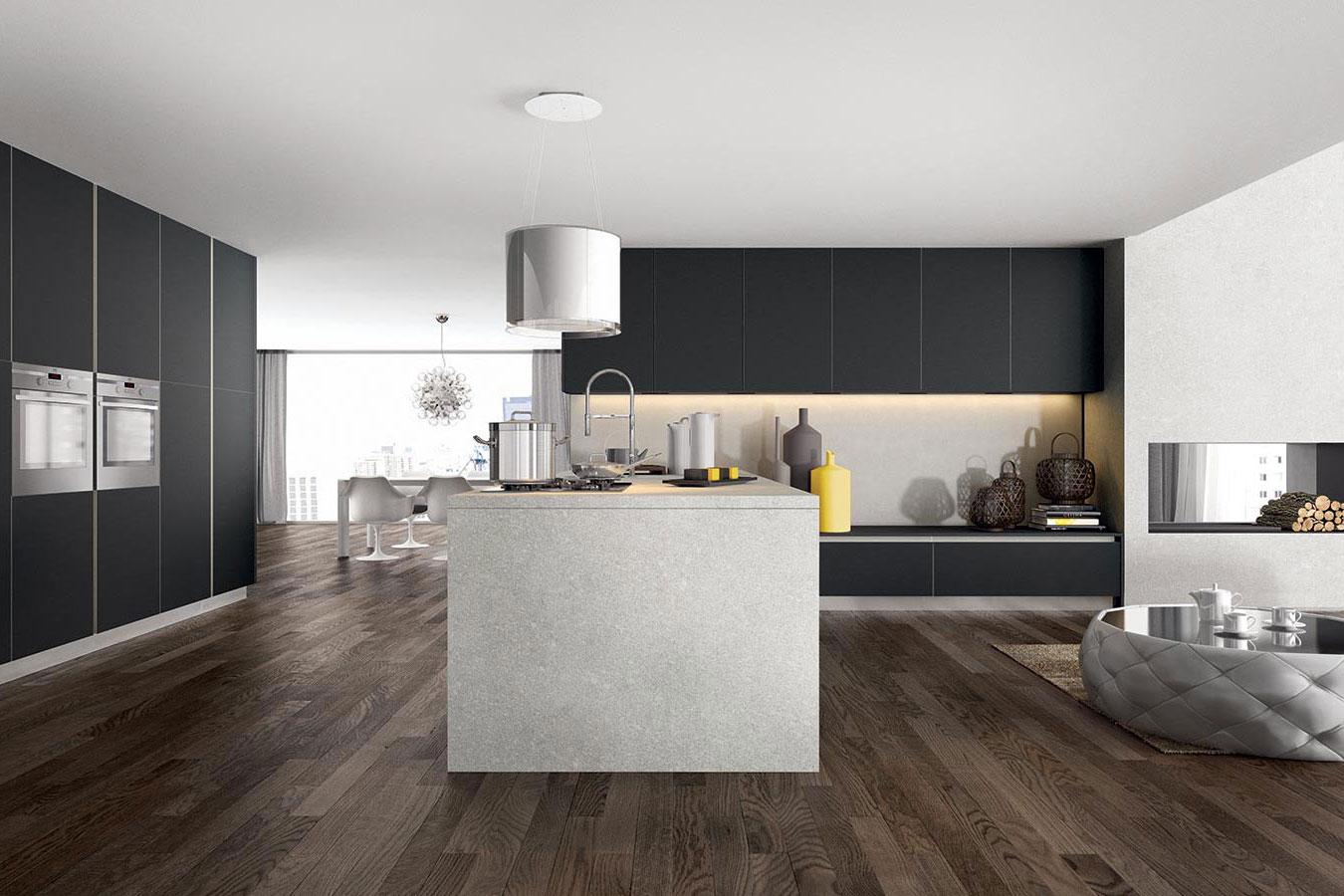 Cucine Bianco Grigio : Arredo cucina glass moderna design bianco grigio living isola