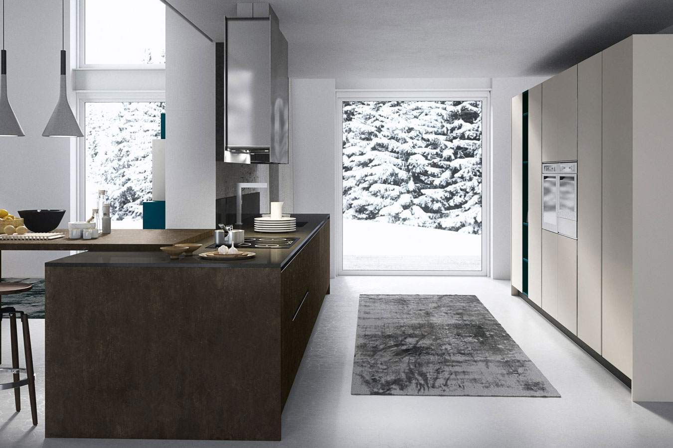 Arredo3-Cucina-Kalì-2-moderna-design-componibile-bianco-legno-scuro ...