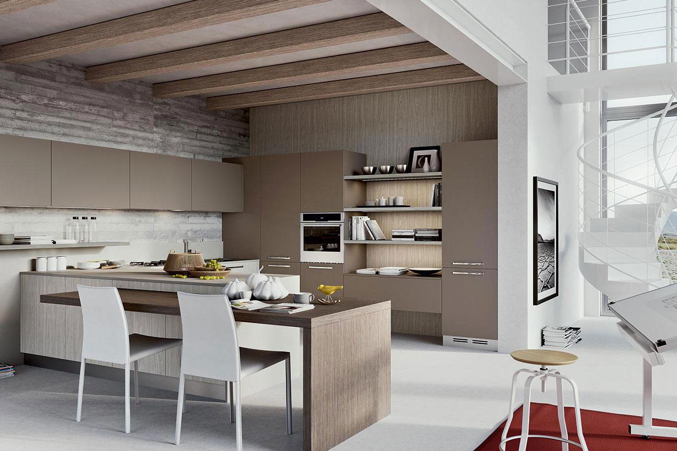 Penisola tavolo tavolo a penisola nelle cucine su misura - Altezza tavolo cucina ...