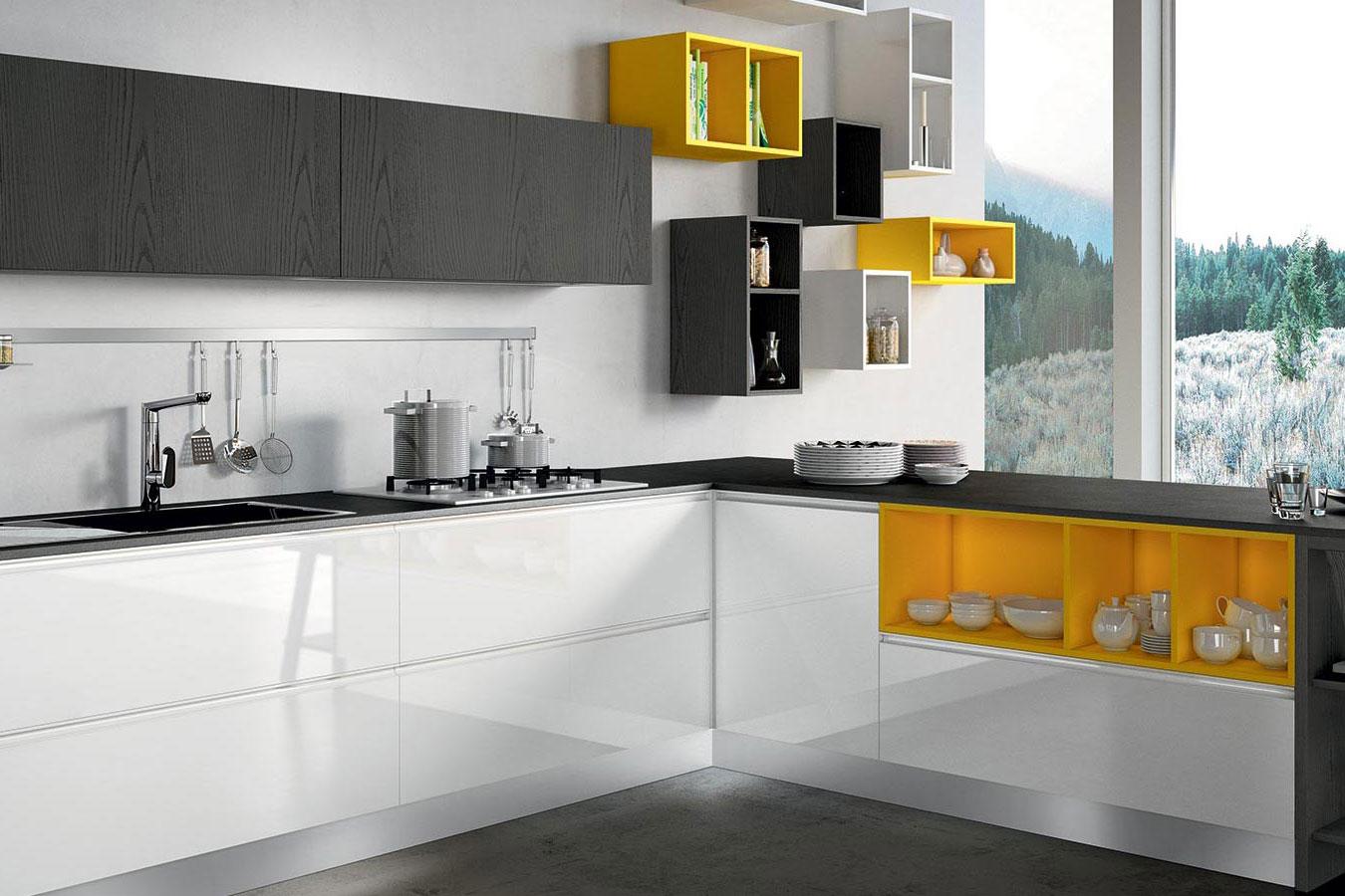 Cucine Bianco Grigio : Arredo cucina moon duna moderna design bianco grigio giallo