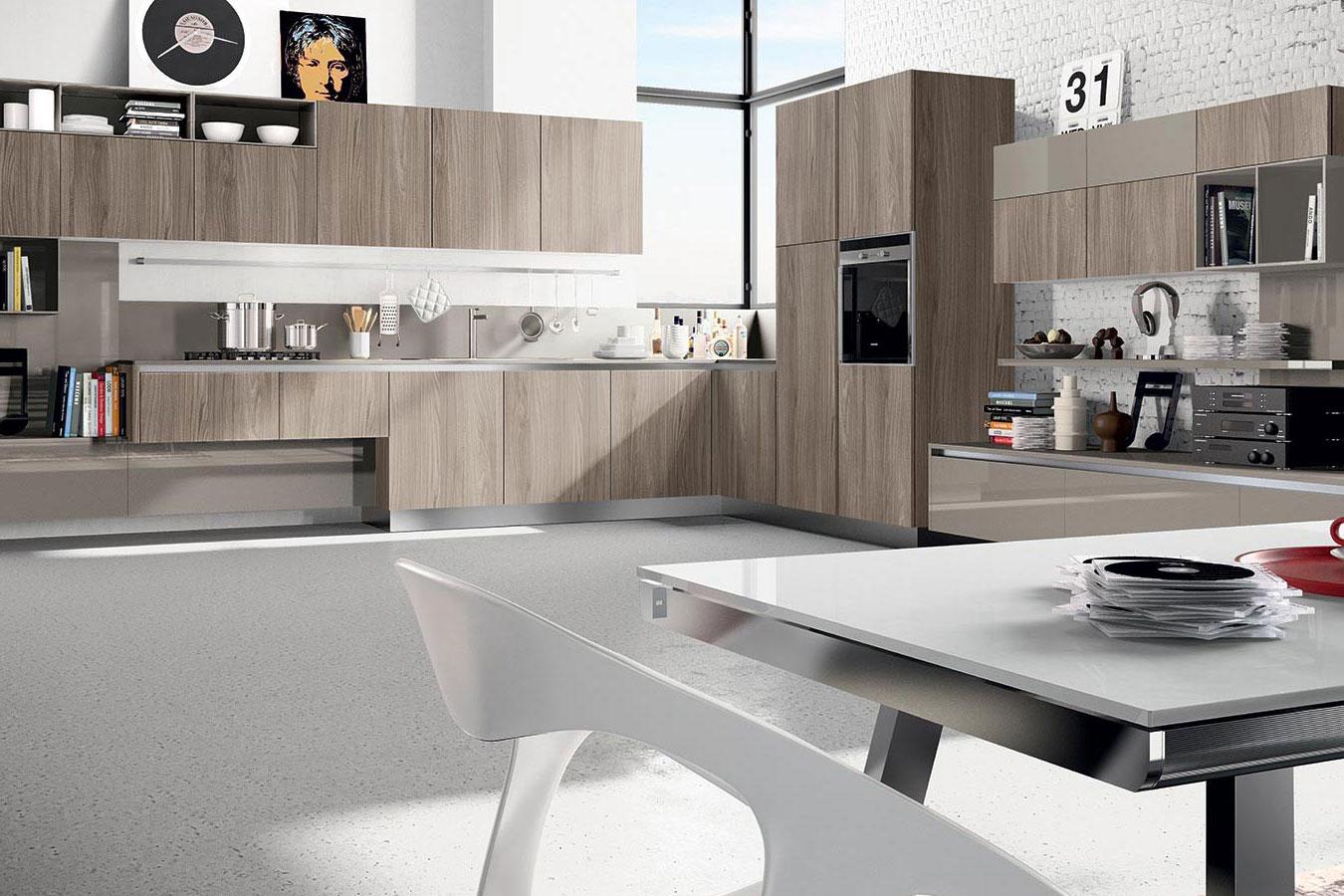 Cucine Moderne In Legno Chiaro.Arredo3 Cucina Round 2 Moderna Open Space Angolo Soggiorno