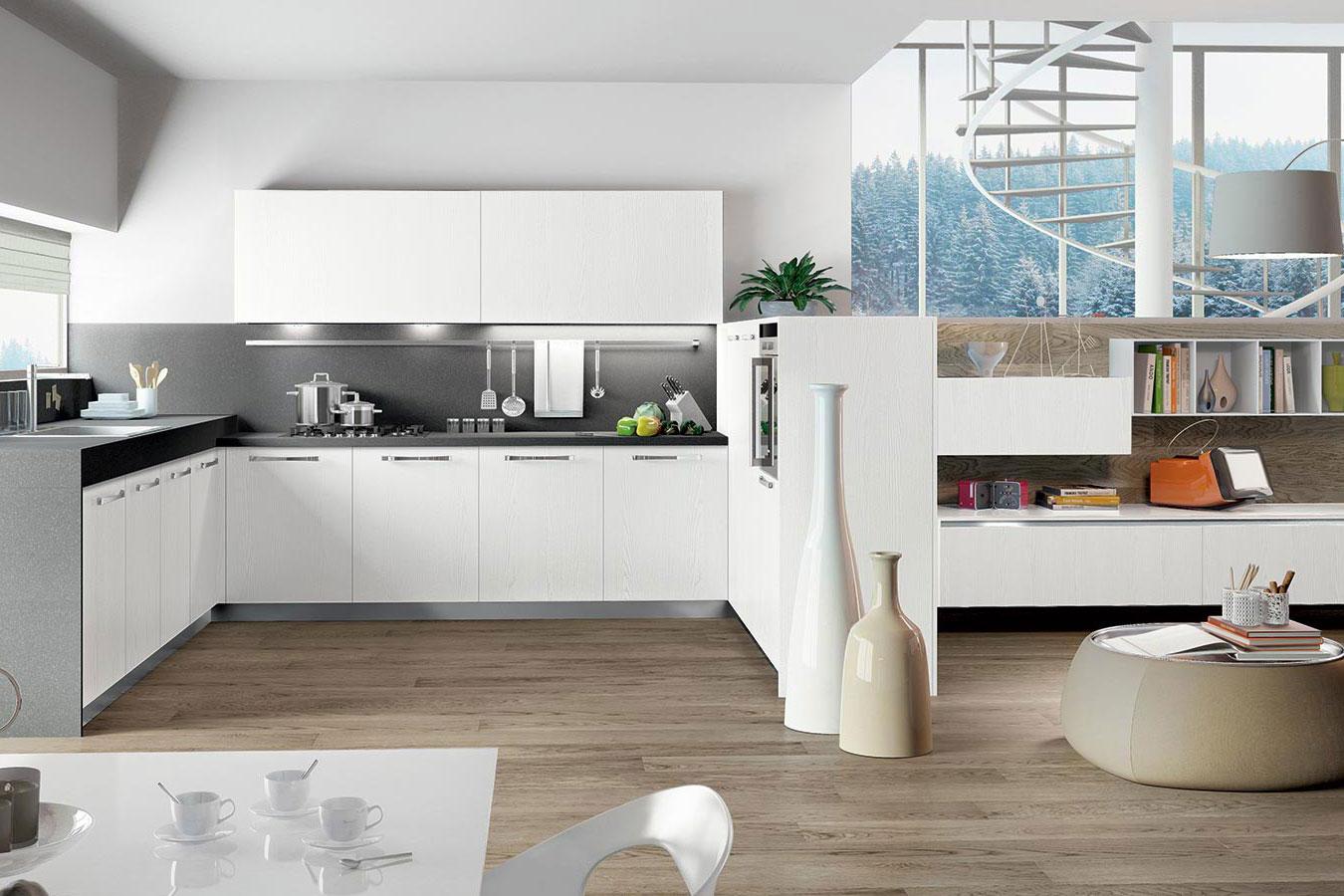 Cucina round di arredo3 righetti mobili novara - Cucina legno bianco ...