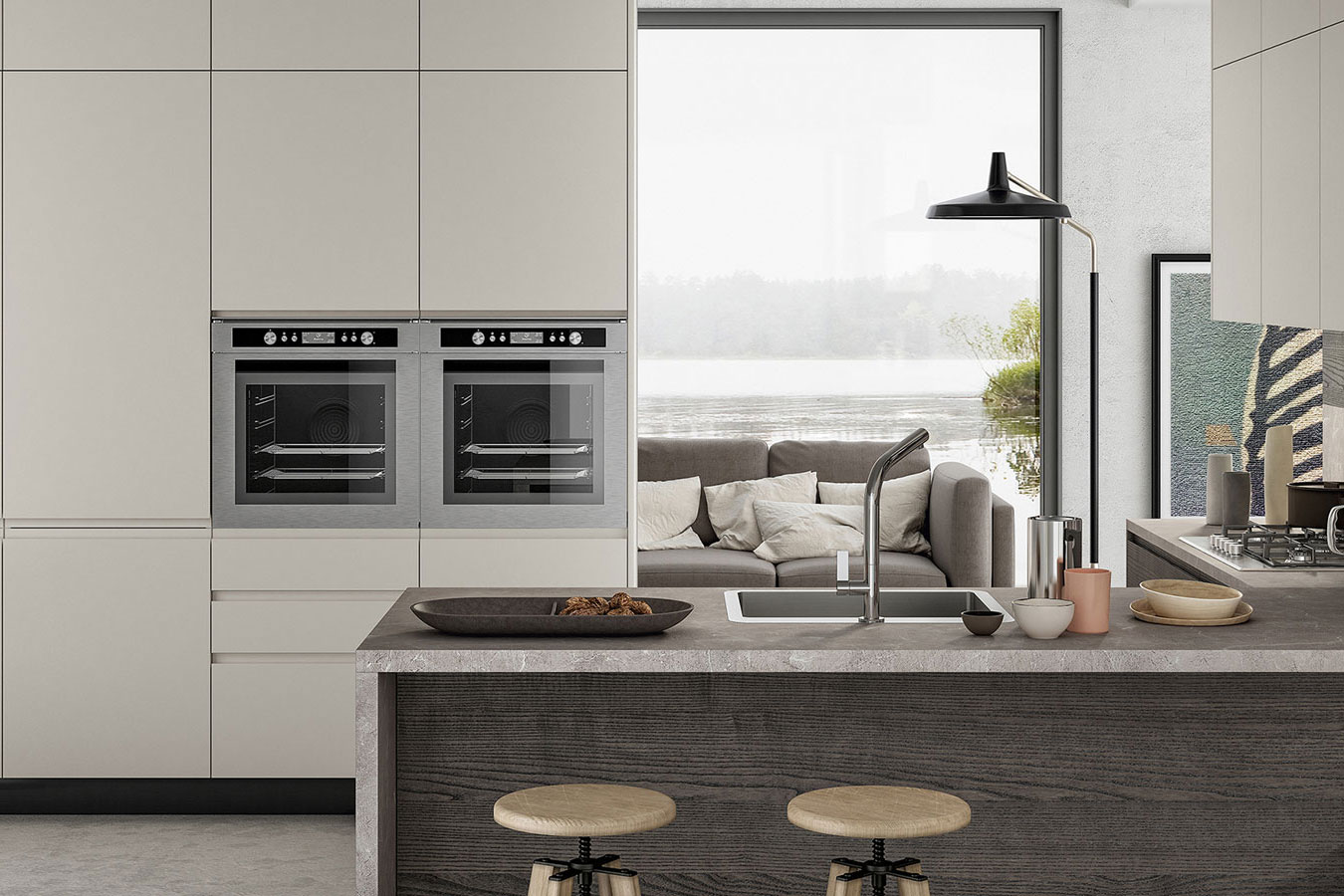 Arredo3-Cucina-Wega-3-moderna-bianca-legno-colonne-due-forni ...