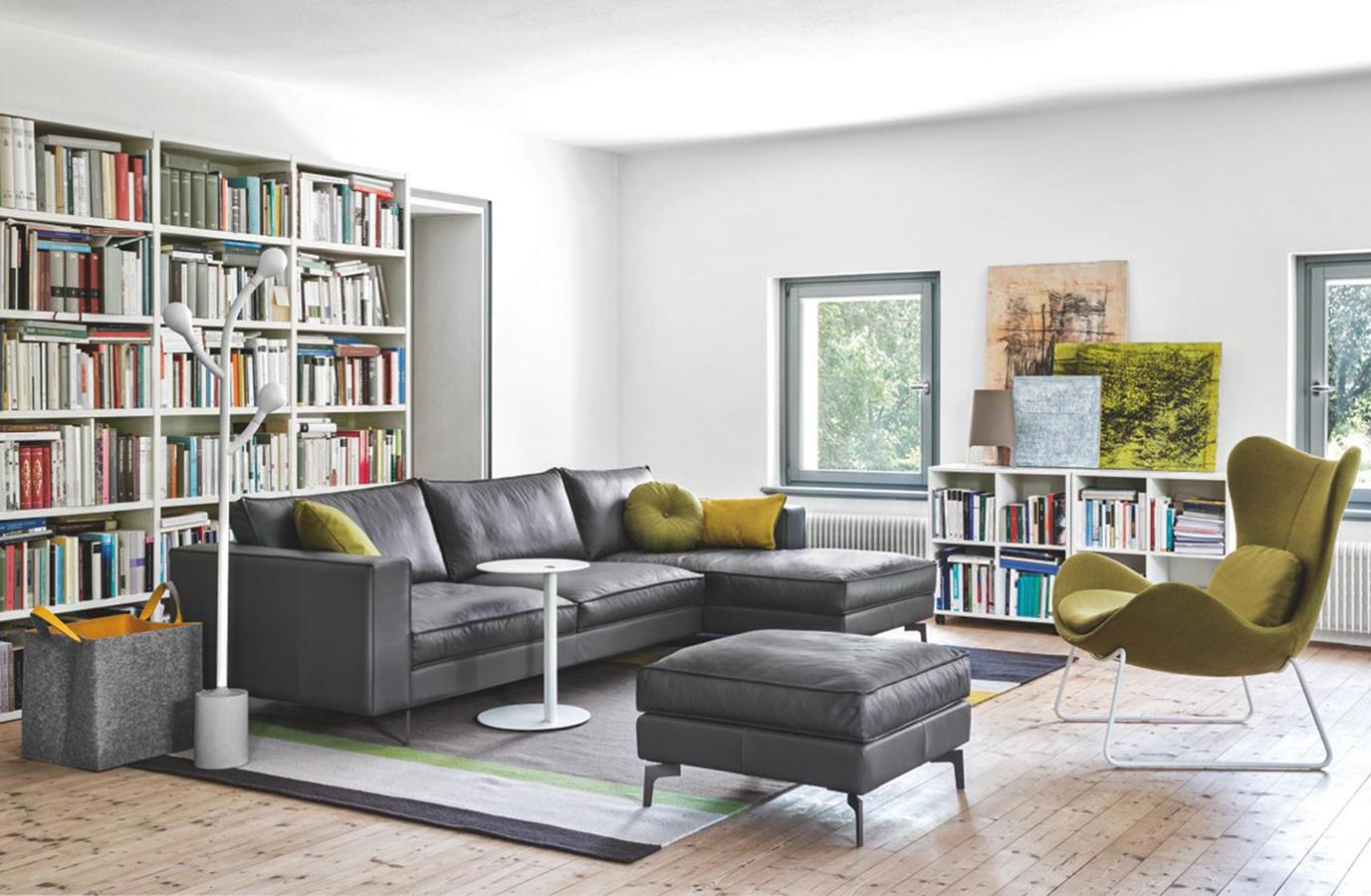 Calligaris divano square moderno design stoffa pelle ecopelle