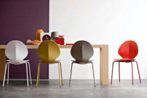 Calligaris sgabello sedia basil moderna design plastica metallo