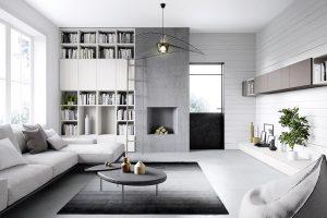 Foto Arredamento Interni Soggiorni Moderni.Cinquanta3 Parete Soggiorno Libreria Moderno Design Living Studio