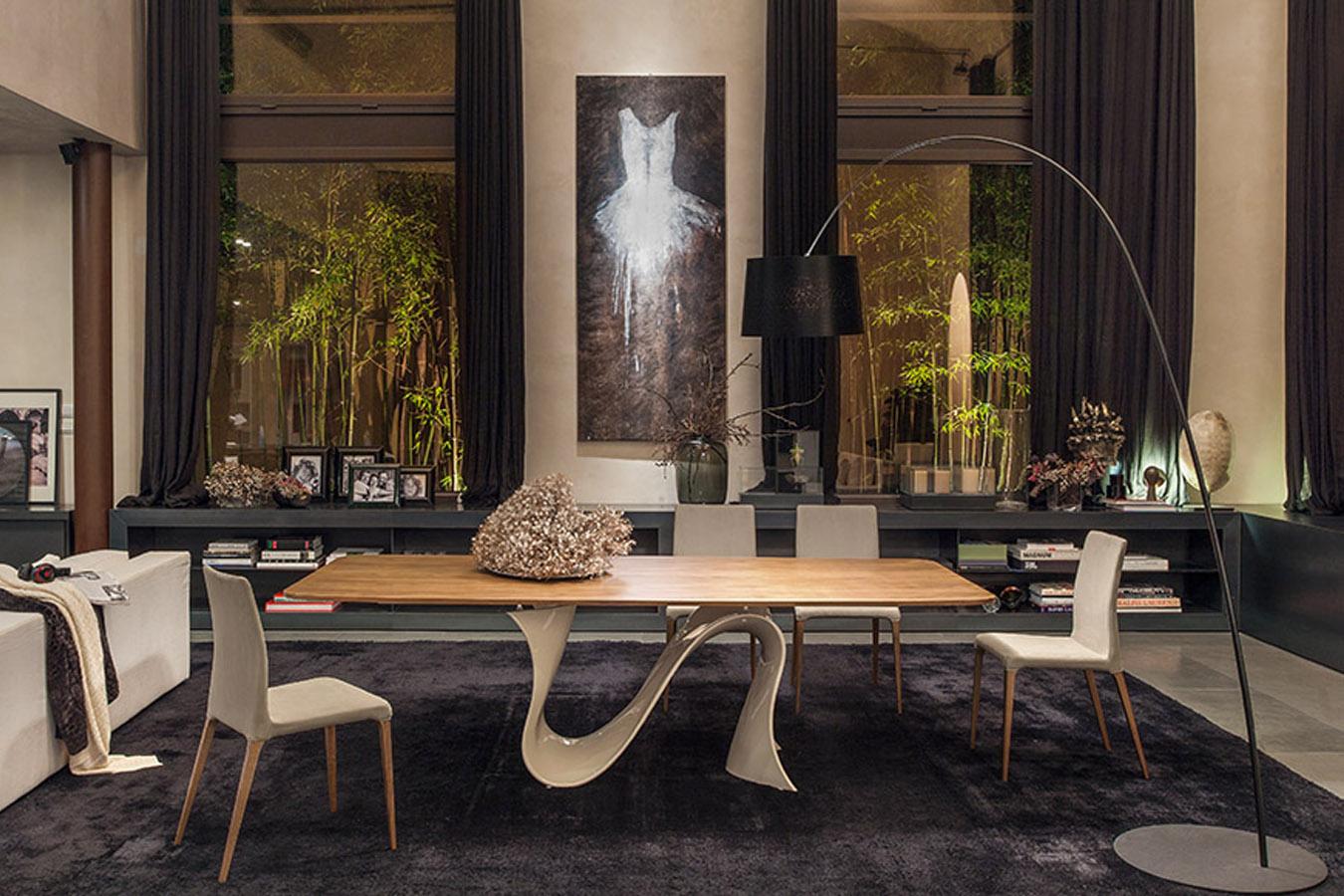 Tonin Casa Tavolo Wave Moderno Design Rettangolare Legno Pranzo