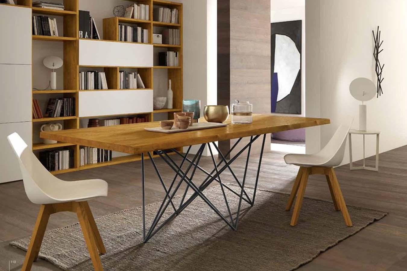 Tavolo moderno Trendy di FGF Mobili con piano il legno massello