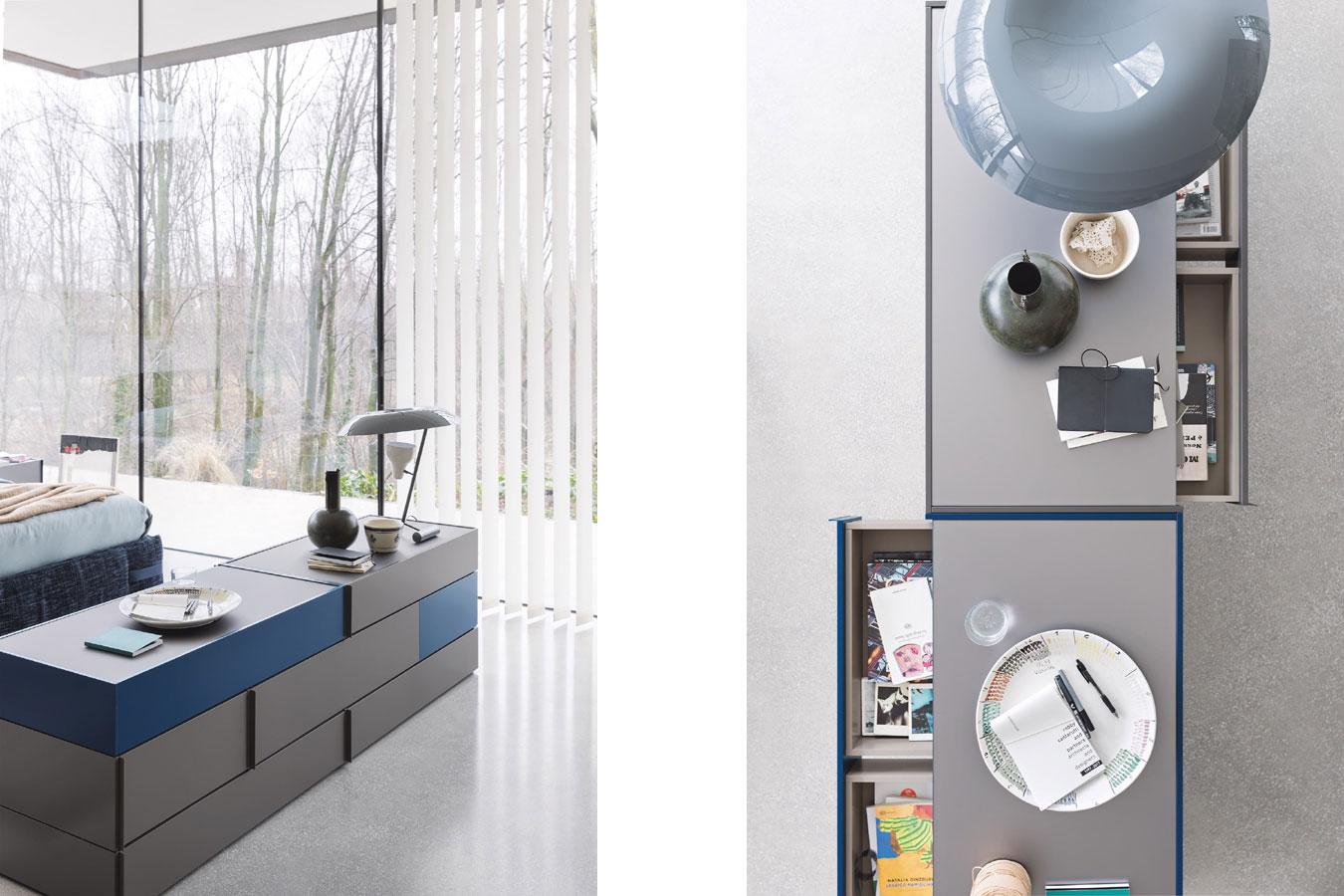 Sistema Giro-Giro di Novamobili. Cassettiere e contenitori da centro stanza per camere da letto