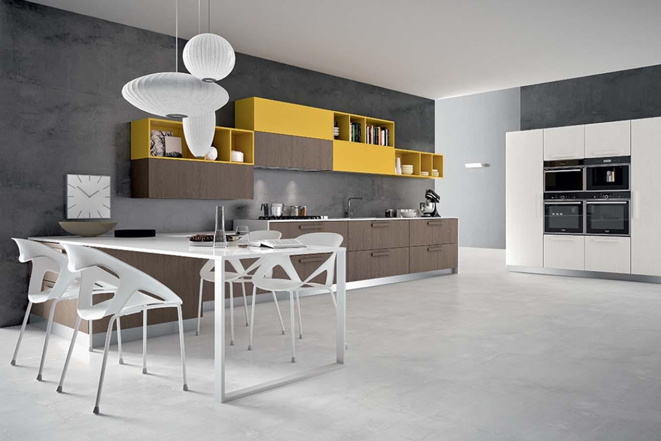 Cucina moderna Pentha di Arredo3 in frassino naturale e giallo